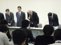 The March 14, 2011 press conference at the Tokyo Electric Power Co. (TEPCO) head office in Tokyo in which then TEPCO vice president Sakae Muto (second from right) was reportedly told by then company president Masataka Shimizu not to use the expression