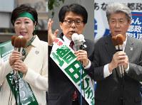 (右から)都知事選に立候補し第一声を上げる鳥越俊太郎氏、増田寛也氏、小池百合子氏