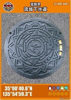 滋賀県流域下水道のマンホールカード。琵琶湖に生息するカイツブリなどがデザインされている=滋賀県下水道課提供