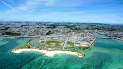空から見た豊崎タウン=沖縄県豊見城市