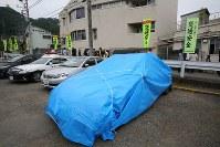植松聖容疑者が乗っていた車両=相模原市緑区で2016年7月26日午前10時16分、長谷川直亮撮影