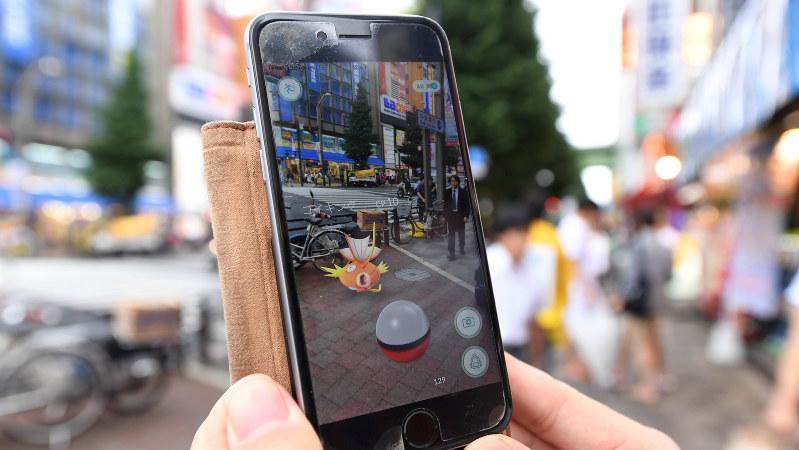 ポケモンGOの画面=東京・秋葉原で2016年7月22日、中村藍撮影