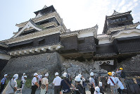 The main tower of Kumamoto Castle is seen after being opened to the press, in Kumamoto on July 28, 2016. (Mainichi)