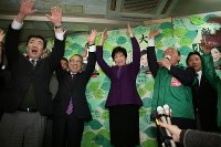 2014年衆議院議員選挙で当選=2014年12月14日、藤沢美由紀撮影