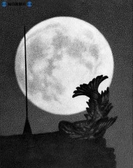 中秋の名月の前日の9月16日、夜は真ん丸い月が空に浮かび、再建の金シャチに映える=1959(昭和34)年9月17日