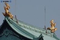 名古屋城天守閣の屋根で輝く金のシャチホコ=2004(平成16)年8月10日