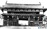 宮城県・仙台城(青葉城)大手門正面=1938年7月撮影