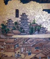 17世紀後半に描かれたと思われる「東海道図屏風」に描かれた駿府城=静岡市文化財資料館所蔵