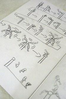 内村航平選手が小学生の頃にノートに描いた体操技のコマ割り漫画=長崎県諫早市の実家で2012年4月16日午後1時6分、川崎桂吾撮影