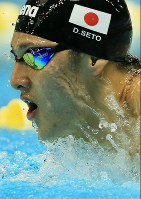 Daiya Seto competes in the 400-meter individual medley at the 2013 Japan Open in Sagamihara, Kanagawa Prefecture, on May 25, 2013. Seto came first in the event. (Mainichi)