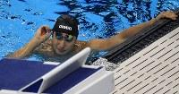 競泳男子400メートル個人メドレー決勝を3位でフィニッシュし、悔しそうな表情を見せる瀬戸大也=リオデジャネイロの五輪水泳競技場で2016年8月6日、三浦博之撮影