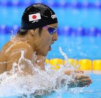 競泳男子400メートル個人メドレーで3位となった瀬戸大也の平泳ぎ=ブラジル・リオデジャネイロの五輪水泳競技場で2016年8月6日、小川昌宏撮影
