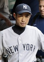 Ichiro Suzuki is clad in a New York Yankees uniform at Safeco Field in Seattle.