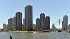 永代橋から見た東京・佃島の高層マンション=関口純撮影