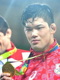 柔道男子73キロ級で金メダルを獲得した大野将平=リオデジャネイロのカリオカアリーナで2016年8月8日、和田大典撮影
