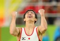 床運動の演技を終え会心の表情を見せる白井健三=リオデジャネイロのリオ五輪アリーナで2016年8月8日、小川昌宏撮影