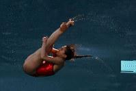 リオ五輪女子3メートル板飛び込みで銀メダルに輝いた中国の何姿の演技=ゲッティ