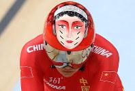 リオ五輪自転車競技女子団体スプリントに出場した中国チームのヘルメット=ゲッティ