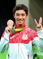 体操の種目別跳馬で銅メダルを獲得した白井健三=2016年8月15日、小川昌宏撮影