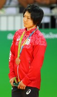 柔道の女子52キロ級で、銅メダルを獲得した中村美里=2016年8月7日、小川昌宏撮影
