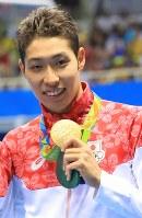 競泳の男子400メートル個人メドレーで金メダルを獲得した萩野公介=2016年8月6日、梅村直承撮影