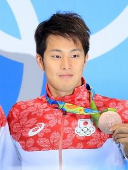 競泳の男子400メートル個人メドレーで銅メダルを獲得した瀬戸大也=2016年8月6日、梅村直承撮影