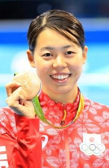 競泳の女子200メートルバタフライで銅メダルを獲得した星奈津美=2016年8月10日、梅村直承撮影