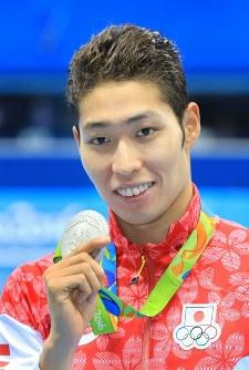競泳の男子200メートル個人メドレーで銀メダルを獲得した萩野公介=2016年8月11日、梅村直承撮影