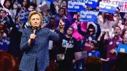 米民主党のヒラリー・クリントン大統領候補=2016年4月撮影