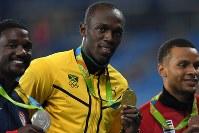 陸上男子100メートル3連覇、ウサイン・ボルト(ジャマイカ)=三浦博之撮影