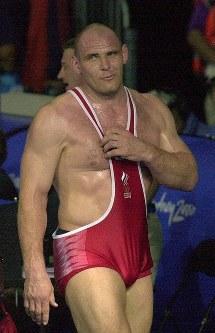 レスリング男子130キロ級3連覇、アレクサンドル・カレリン(ロシア)=山下浩一撮影