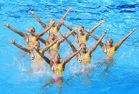 チーム・フリールーティン、日本の演技=リオデジャネイロのマリア・レンク水泳センターで2016年8月19日、梅村直承撮影