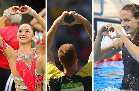 活躍したたくさんの選手が、手でハートマークを形作ってメッセージを送っていました。4年後の東京大会が幸せな気持ちで迎えられるようにと受け止めたいです=リオデジャネイロで、五輪取材班撮影