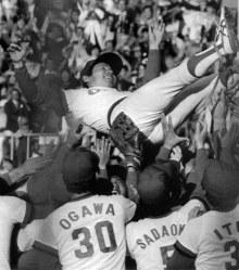 1984年度日本シリーズ[広島東洋カープ・阪急ブレーブス第7戦]4年ぶりの日本一、地元広島で宙に舞う古葉監督=広島市民球場で1984年10月22日撮影