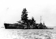横須賀軍港で終戦を迎えた戦艦「長門」=1945年11月撮影