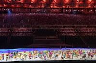 華やかに始まったリオデジャネイロ・パラリンピックの開会式=リオデジャネイロのマラカナン競技場で2016年9月7日午後6時29分、徳野仁子撮影