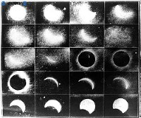新潟大崎山で観測した日食連続写真=1887年(明治20年)8月撮影