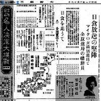 ラジオで日食の全国リレー中継も行われた=1936(昭和11)年6月19日、大阪毎日新聞朝刊