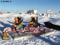 南極のドーム基地前にこたつを持ち出し、日食を観測する隊員=2003(平成15)年11月24日撮影