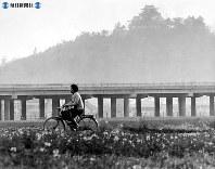 東名高速道路開通:100年の大計を誤らないため、愛知県小牧市内の全線は高架橋に。後方に小牧山の歴史館が見える=1968年(昭和43年)4月20日撮影