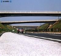 東名高速道路開通:神奈川県大和市付近は住宅地や市街地が多く、橋脚のトンネルが平坦なハイウエー風景のアクセントとなっている=神奈川県大和市で1968年(昭和43年)4月26日撮影