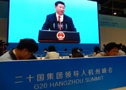 G20関連会合であいさつする習近平国家主席=2016年9月3日午後、赤間清広撮影