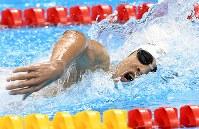 競泳男子200メートル個人メドレー(知的障害S14)で銅メダルを獲得した中島啓智=リオデジャネイロの五輪水泳競技場で2016年9月17日、徳野仁子撮影
