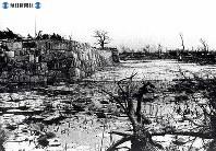 【広島】石垣の残る広島城跡の石垣付近。爆心地から500メートル=1945(昭和20)年8月