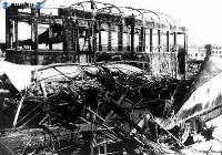 【広島】スクラップと化した広島の市電=1945(昭和20)年8月
