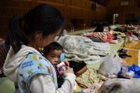 小学校の体育館に避難する人たち。約190人が不安な夜を過ごしているが、市が提供できた毛布は10枚。主婦の阪上亜由美さん(34)=左=は知人に借りた毛布で6歳の長男を寝かせていた。1歳8カ月の次男は地震で体育館が揺れる音におびえ、泣き続けいているという=鳥取県倉吉市の倉吉市立小鴨小学校で2016年10月21日午後10時42分、丸山博撮影