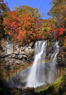 美しい紅葉と共演する、虹のかかったアシリベツの滝=札幌市南区の国営滝野すずらん丘陵公園で2016年10月19日、手塚耕一郎撮影