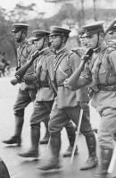 Prince Mikasa participates in a military march in 1936. (Mainichi)