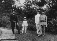 From left to right, Crown Prince Hirohito (Emperor Showa), Prince Mikasa, Prince Takamatsu and Prince Chichibu are seen at the Nikko Tamozawa Imperial Villa in Nikko, Tochigi Prefecture, in this photo taken on Sept. 5, 1921. (Photo courtesy of the Imperial Household Agency)