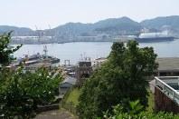 山の中腹から見る三菱重工業長崎造船所=酒井雅浩撮影
